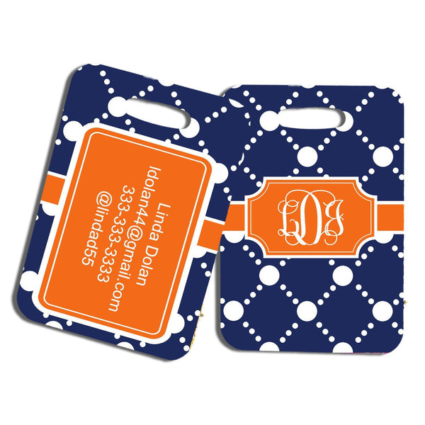 Monogrammed auto window sticker  - Preppy dot pattern in orange and dark blue - Cute car decoration for girls
