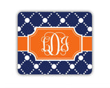 Personalized mousepad - Preppy dot pattern in dark blue and orange - Cubicle decor for women