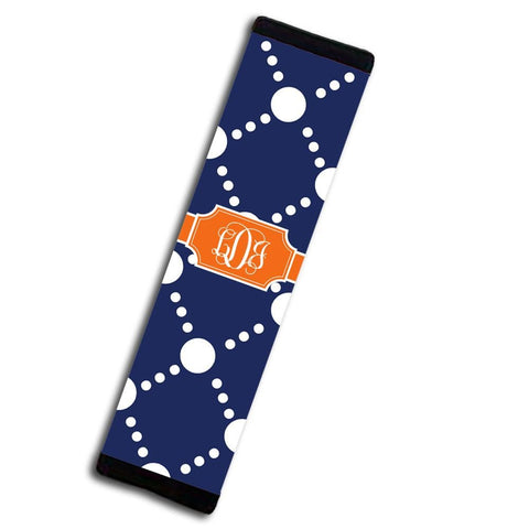 Monogrammed seat belt strap cover - Preppy dot pattern in orange and dark blue - Girly auto decor