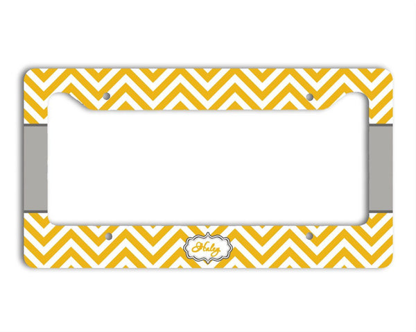 Padded seat belt shoulder pad - Chevron print with fancy monogram emblem, yellow and gray