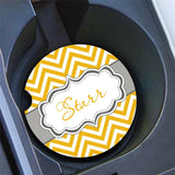 Chevron print with fancy monogram emblem - Women's monogrammed gift license plate