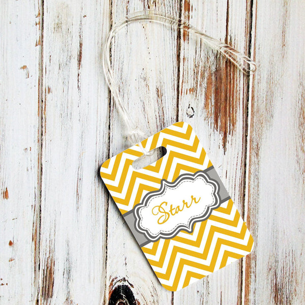 Monogrammed car accessories for women - Yellow and white chevron with gray car coaster