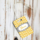 Personalizable triangular keychain - Chevron print with fancy monogram emblem, yellow and gray