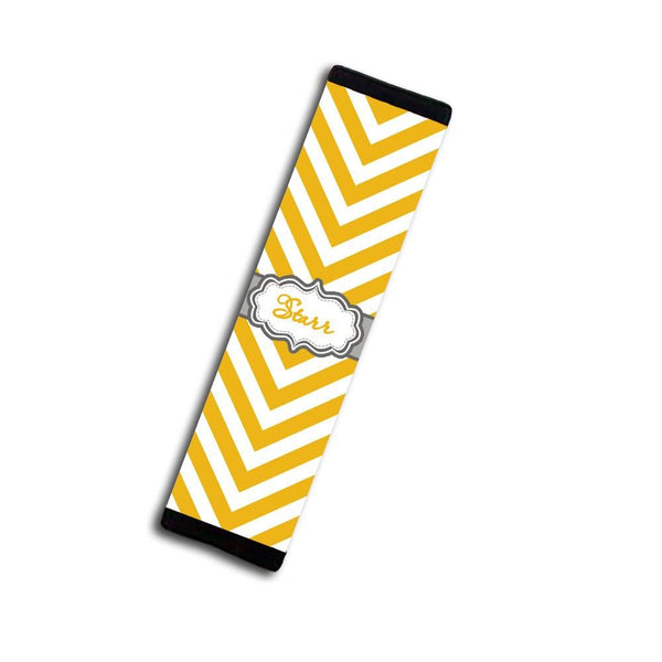Monogrammed diaper bag tag - Chevron print with fancy monogram emblem, yellow and gray
