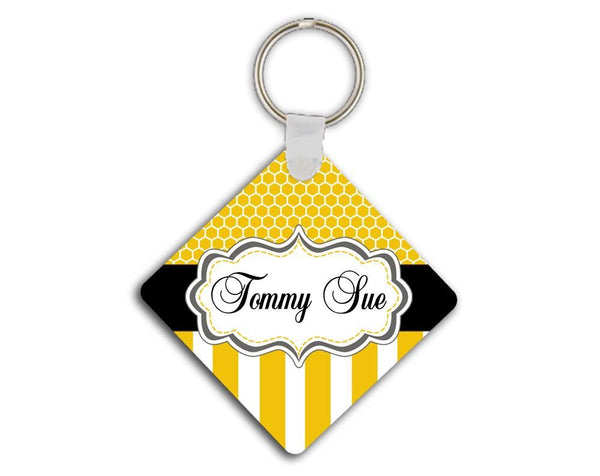 Custom identification tag - Yellow stripes and honeycomb - Monogrammed luggage tag