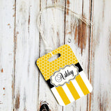 Custom triangular keychain - Yellow stripes and honeycomb - Monogrammed auto decor
