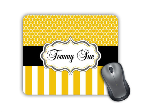 Personalized office decor - Yellow stripes and honeycomb with black ribbon - Monogrammed mouse pad