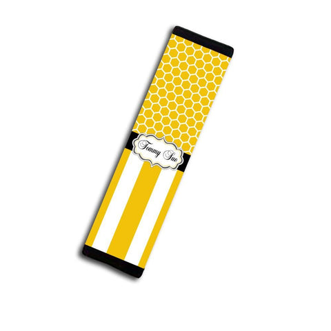 Custom auto seat belt cover for adults - Yellow stripes and honeycomb - Monogrammed decor