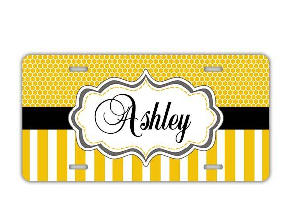 Custom auto sticker or decal - Yellow stripes and honeycomb - Monogrammed auto decoration