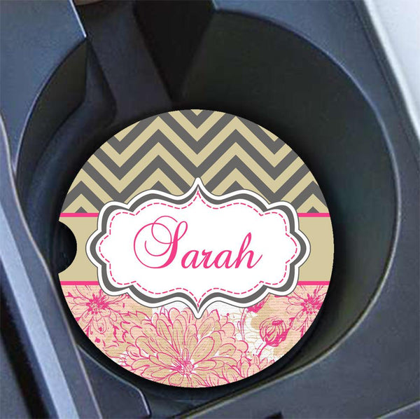Pretty floral personalized car seat belt shoulder pad - Pink and green flowers with chevron