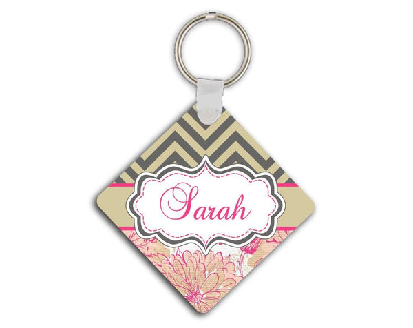 Pretty floral personalized car sticker - Pink and green flowers with chevron