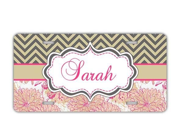 Personalized floral auto decor - Pink and green flowers with chevron car coaster