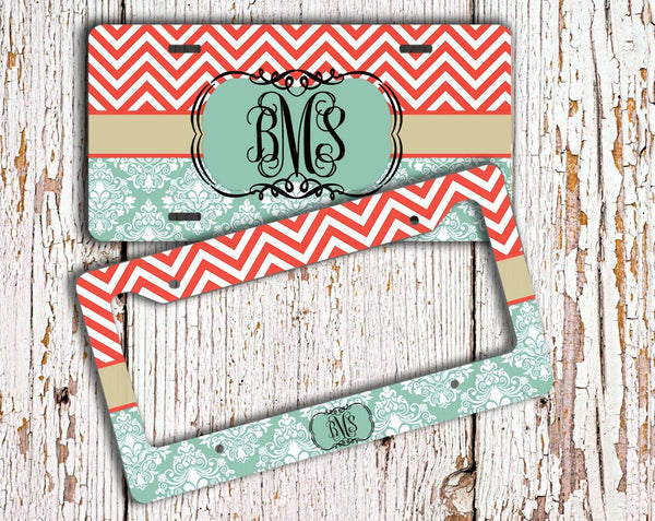 Monogrammed auto accessories - Coral red and blue chevron with damask - Car decal