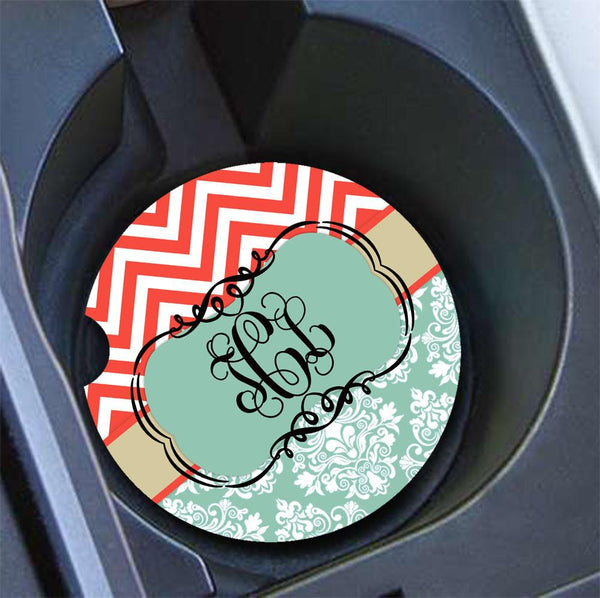 Red car decor - Coral red and blue chevron with damask - Monogram car cup holder coaster