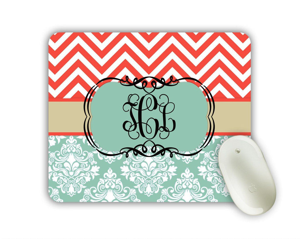 Chevron monogrammed mousepad - Coral red and blue chevron with damask