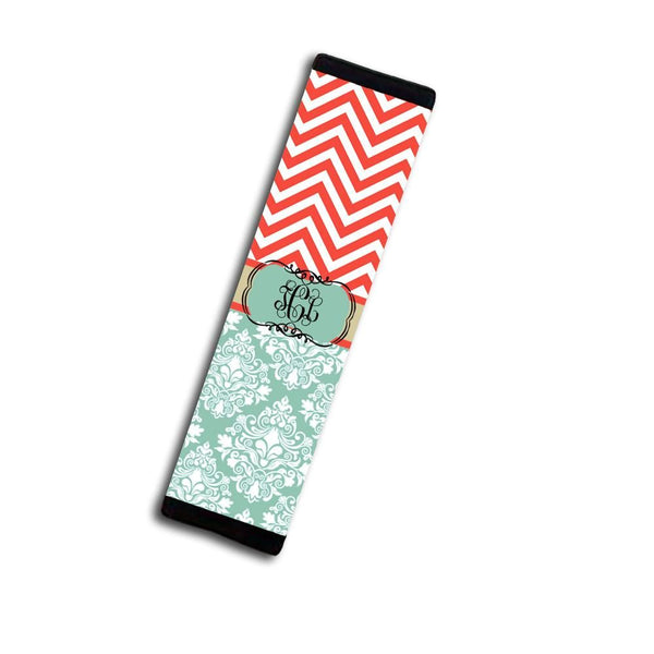 Monogrammed car accessories - Coral red and blue chevron with damask - Triangular keychain