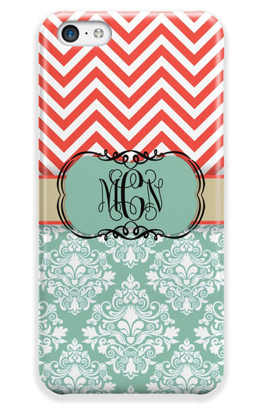 Monogrammed floral Iphone case - Blue damask and coral chevron