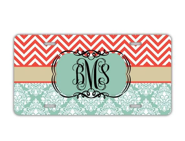 Coral red and blue chevron with damask - Monogrammed license plate and accessories