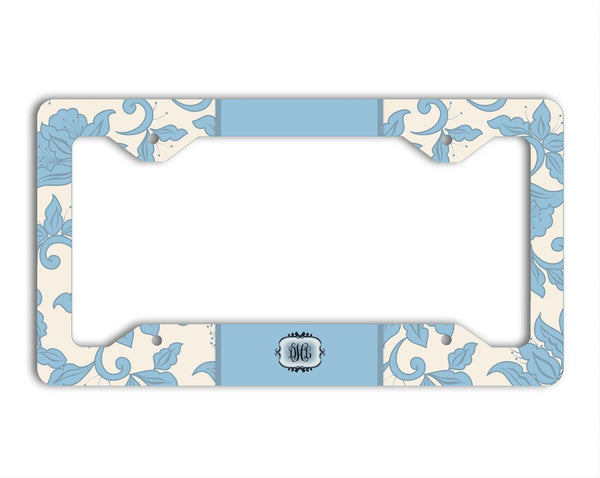 Blue floral car coaster with monogram - Blue damask car accessories for her
