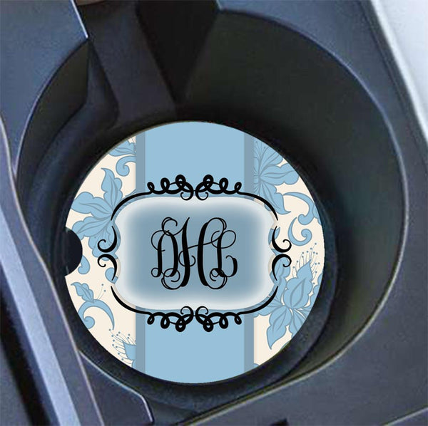 Pretty floral keychain with monogram - Blue floral damask