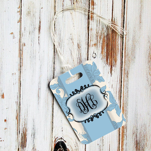 Pretty floral luggage tag with monogram - Blue floral damask