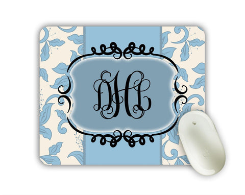 Pretty floral mousepad with monogram - Blue floral damask - Office decor