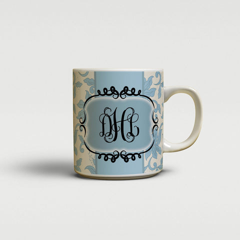 Pretty floral design - Gifts for sisters - Monogram coffee cup or mug