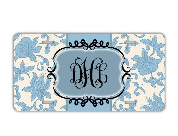 Blue vanity front license plate or frame - Pretty floral with monogram