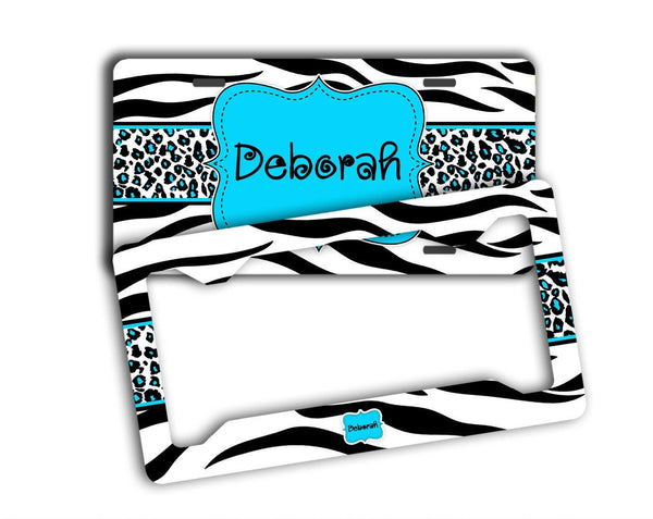 Cheetah monogrammed car coaster - Girly auto decor - Black and white animal with blue