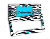 Monogrammed blue car decal - Girly blue auto decoration - Black and white animal with blue