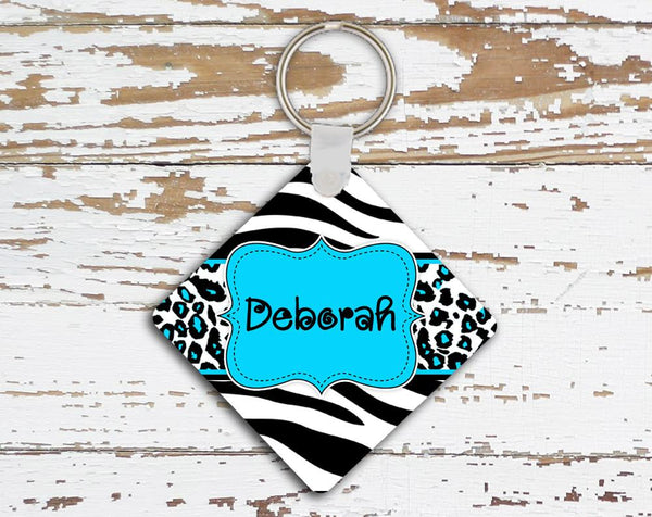 Blue animal print monogrammed key chain