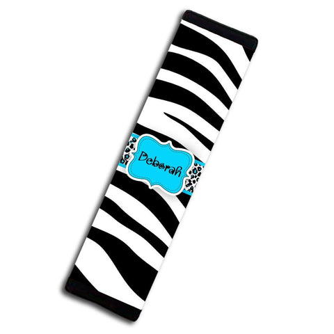 Monogrammed seat belt cover - Girly blue auto decor - Black and white animal with blue