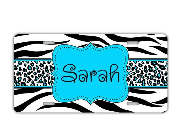 Cheetah monogrammed key chain - Girly blue car decor - Black and white animal with blue