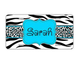 Monogrammed blue suitcase finder - Girly blue accessory - Black and white animal with blue