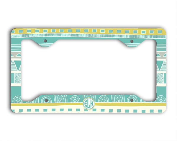 Aztec auto accessories - Aqua and yellow monogrammed keychain