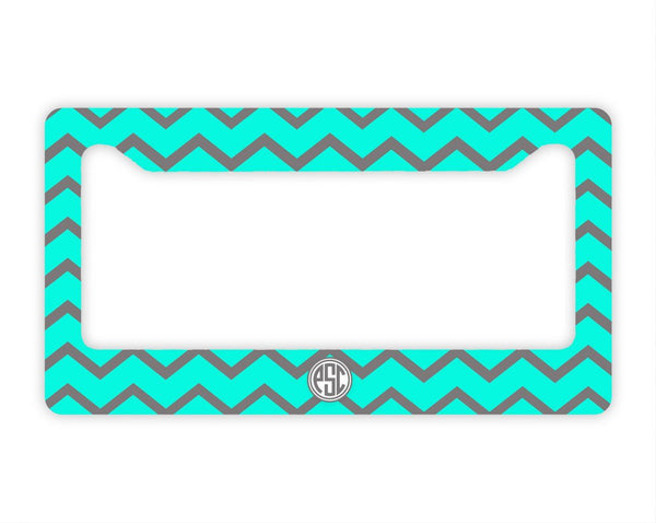 Aqua and gray chevron  monogrammed license plate frame - Girls auto accessories
