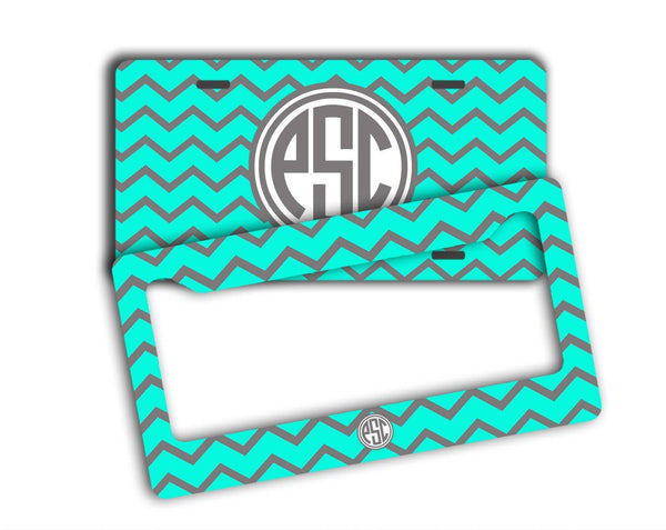 Aqua and gray chevron  monogrammed car coaster - Girl's auto accessories