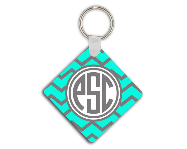 Aqua and gray chevron monogrammed key chain - Girl's auto accessories