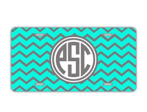 Aqua and gray chevron  monogrammed license plate - Girls auto accessories
