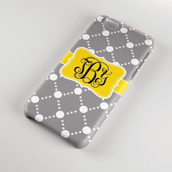 Preppy personalized Iphone case - Gray dot pattern with yellow