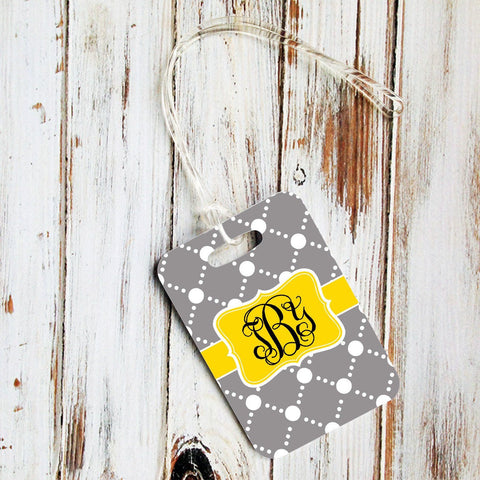 Preppy gray and yellow dot pattern - Personalized luggage finder tags