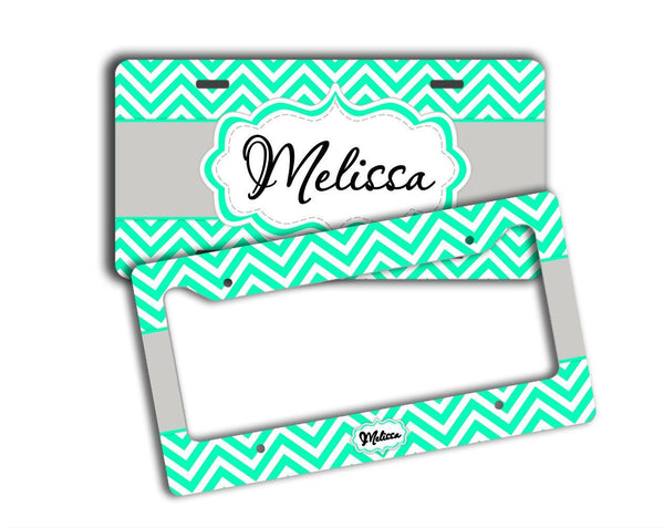 Chevron monogrammed key chain - Mint green with gray - Girly auto interior decor