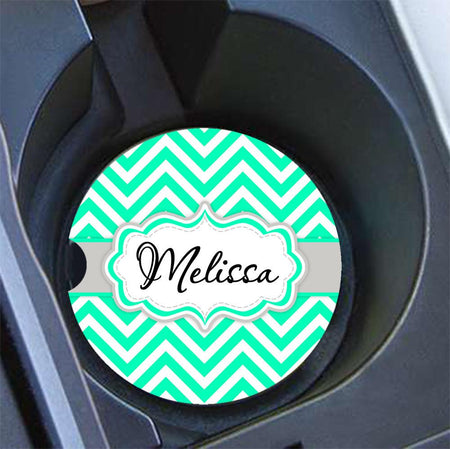 Thin chevron with cheetah print - Monogrammed car coasters - Mint green
