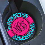 Cheetah print personalized diaper bag tag - Aqua blue and hot pink - New mom gift