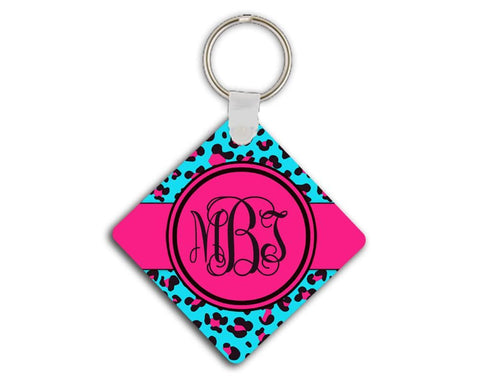 Cheetah print personalized key ring - Aqua blue and hot pink - New driver gift