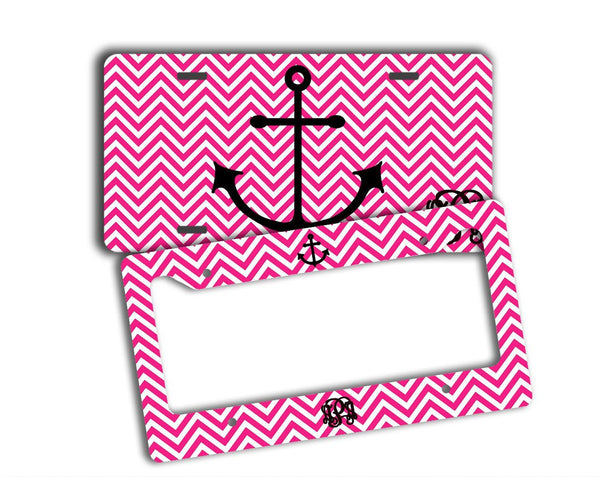 CHEVRON WITH ANCHOR - MONOGRAMMED LICENSE PLATE