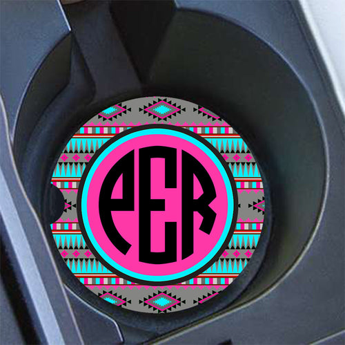 Tribal print - Monogrammed car coaster - Pink car accessories for women