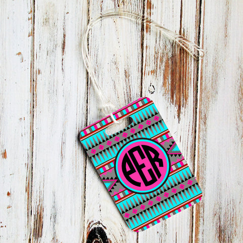 Tribal print - Monogrammed diaper bag tag or luggage id - Gift for new mom