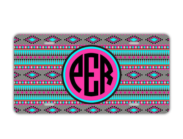 TRIBAL PRINT IN GRAY, AQUA BLUE, HOT PINK - MONOGRAMMED AUTO ACCESSORIES - LICENSE PLATE OR FRAME