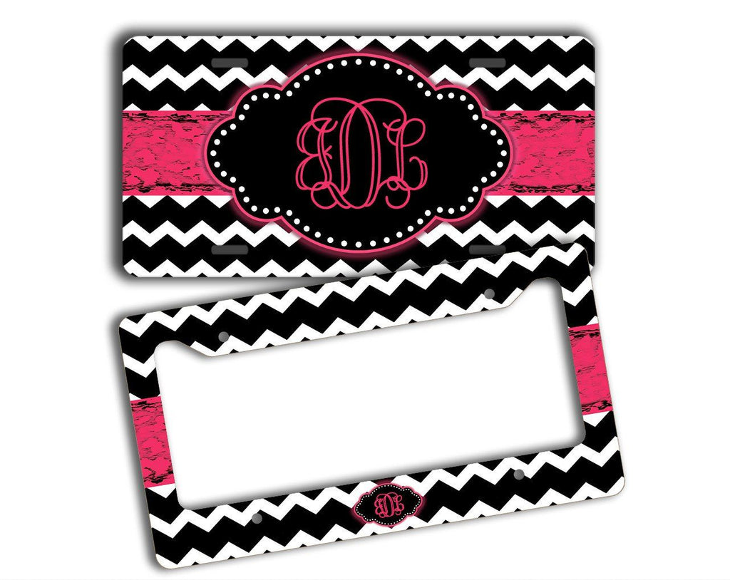 Chevron with distressed gungy Pink ribbon - Personalized license plate or frame